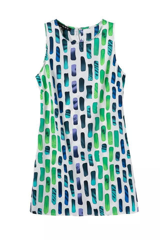 Summer Women's Fashion Vest Dress Round-neck Geometric Sponge Print One Piece Dress [5013360516]
