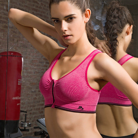Ladies Stylish Zippers Yoga Gym Quick Dry Vest Sports Bra [4915750148]