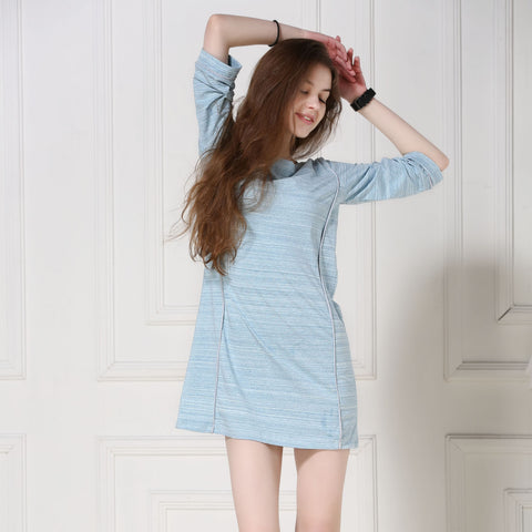 Summer Sexy Sleepwear Stylish Casual Cotton Three-quarter Sleeve Dress One Piece [4918267524]