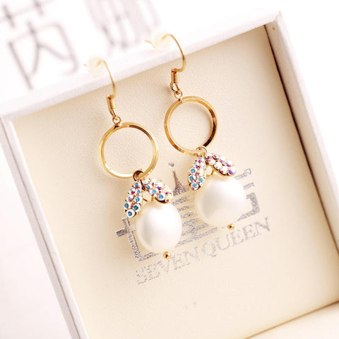 Hollow Out Ring Rabbit Pearls Earring Simple Design Alloy Women's Pendant [4915713220]
