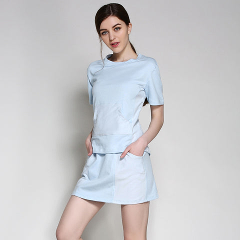 Summer Home Ladies Casual Cotton Slim Set Dress Bottom & Top [4918262980]