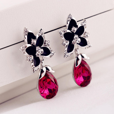 Hot Sale Gemstone Crystal Water Droplets Earring Floral Alloy Women's Pendant [4915713476]