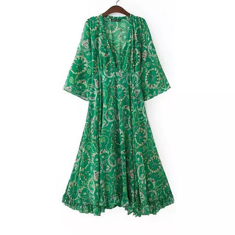 Green Print V-neck Half-sleeve One Piece Dress [5013122308]