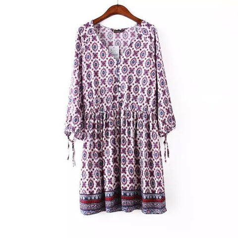 Vintage Geometric Pattern Long Sleeve One Piece Dress [5013174532]