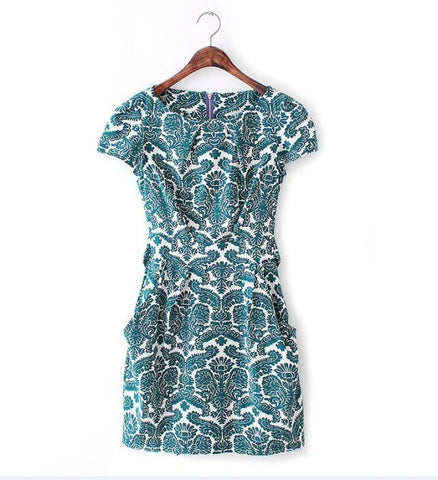 Stylish Floral Pattern Round-neck Short Sleeve Waistband One Piece Dress [5013280516]