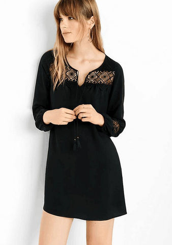 Plus Size Lace Patchwork Chiffon Long Sleeve One Piece Dress [6331544772]