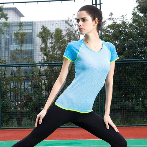 Ladies Stylish Stripes Short Sleeve Quick Dry Slim Gym Tops T-shirts [4915730948]