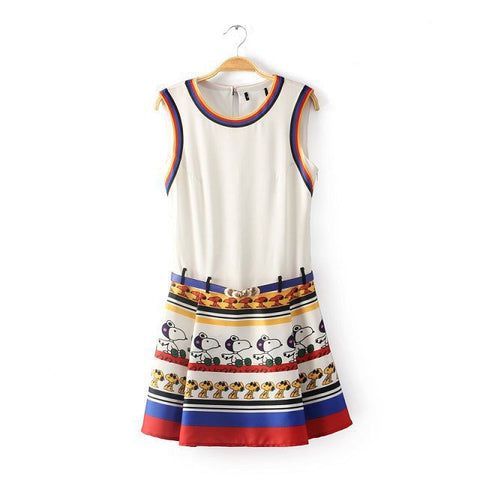 Snoopy Print Vest Dress One Piece Dress [5013162436]