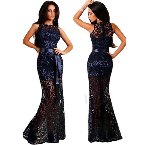 Women's Fashion Round-neck Sleeveless Hollow Out Lace Prom Dress One Piece Dress [4917749380]