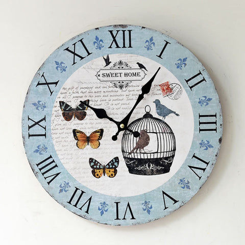 Pastoral Style Decoration Quiet Wall Sticker Home Clock [4914940484]