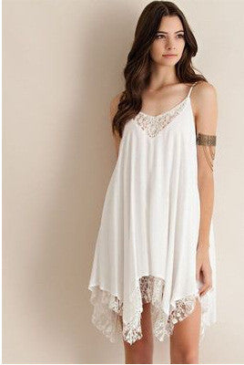 Chiffon Mosaic Lace Irregular One Piece Dress [4915010308]