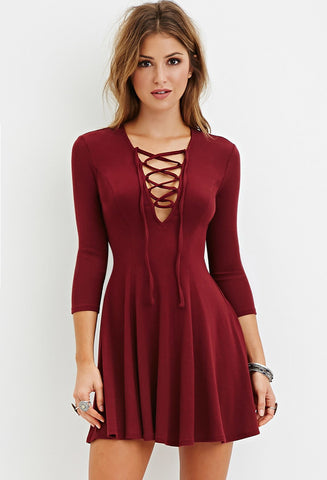 Women's Fashion Deep V Fine Strap One Piece Dress [4966105412]