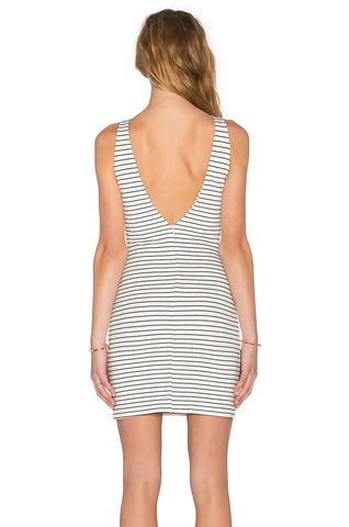 Women's Fashion Deep V Fine Strap Stripes Slim Sleeveless One Piece Dress [4966105028]
