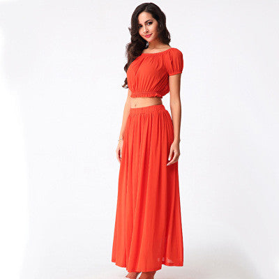 Summer Chiffon Shaped Tops Crop Top Prom Dress Bottom & Top One Piece Dress [4918232388]