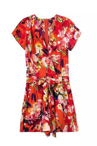 Red Floral Rompers [6259228996]