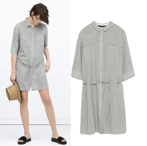 Stylish Three-quarter Sleeve Waistband Cotton Linen Blouse Women's Fashion One Piece Dress [4914987268]