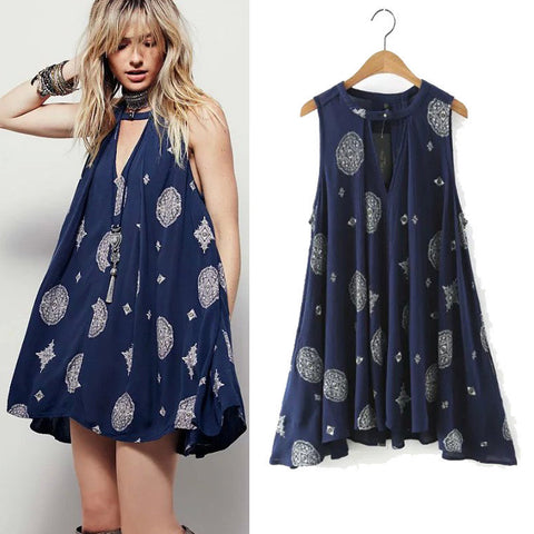 Women's Fashion Print Sleeveless Hollow Out Skirt One Piece Dress [4914987652]