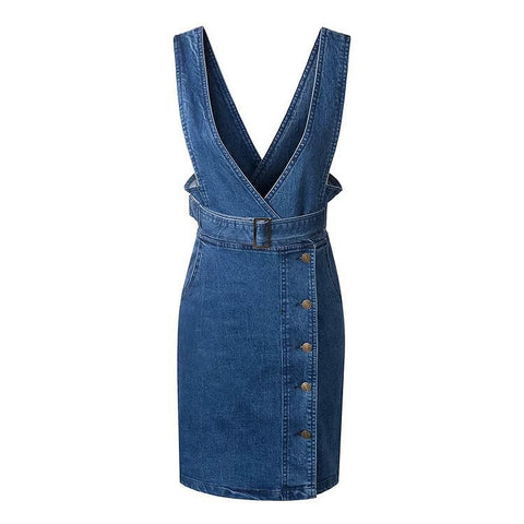 Women's Fashion High Rise Denim Dress Skirt One Piece Dress [4914987012]
