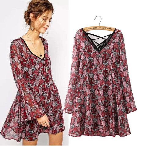 Stylish V-neck Print Long Sleeve Chiffon One Piece Dress with inner piece [4914987972]