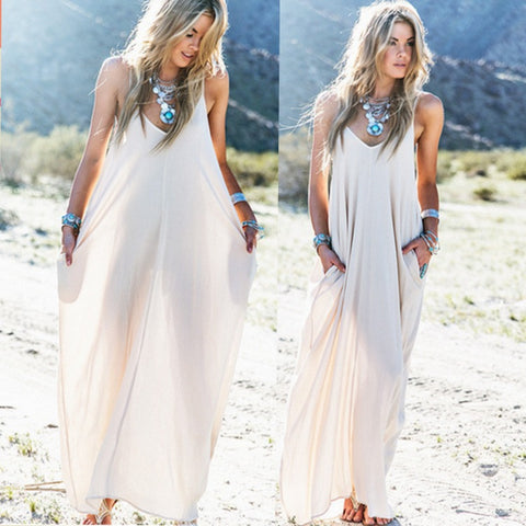 Vintage Hippie Boho People Long Maxi Evening Party Chiffon Dress Beach Dresses = 4756851140