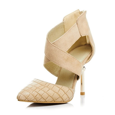 Summer Stylish Design High Heel Suede Plus Size Shoes Sandals [4914877188]