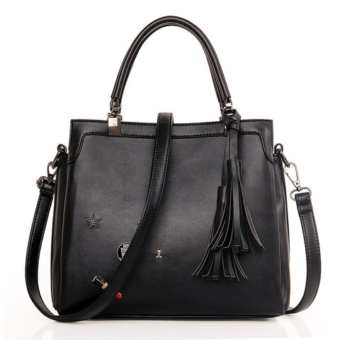 Korean Bags One Shoulder Rivet Tassels Tote Bag [4982896836]