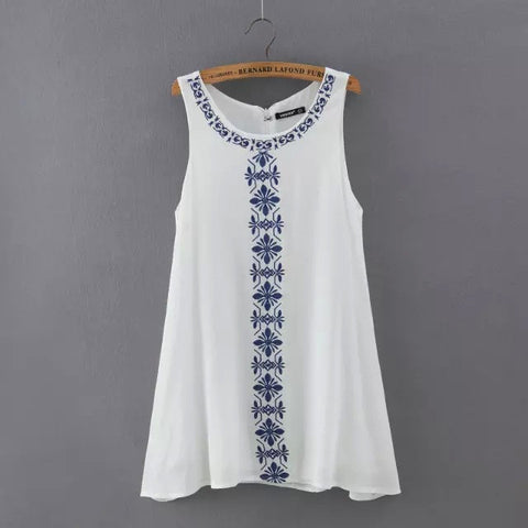 Women's Fashion Embroidery Cotton Sleeveless One Piece Dress [4914967236]