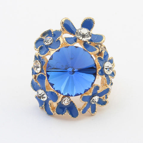 Jewelry Shiny New Arrival Gift Stylish Hot Sale Rhinestone Floral Gemstone Accessory Ring [4918799876]