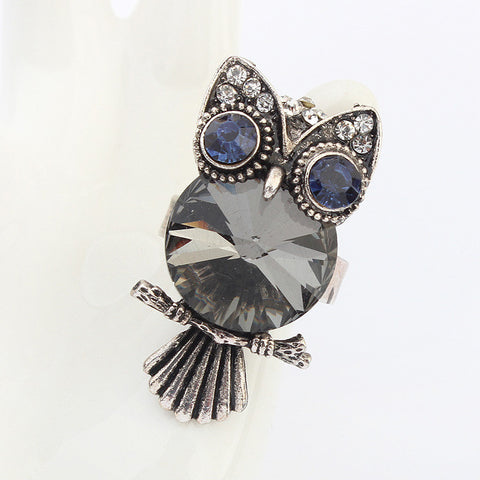 Shiny Gift Jewelry New Arrival Stylish Fashion Strong Character Owl Gemstone Korean Accessory Ring [4918799492]