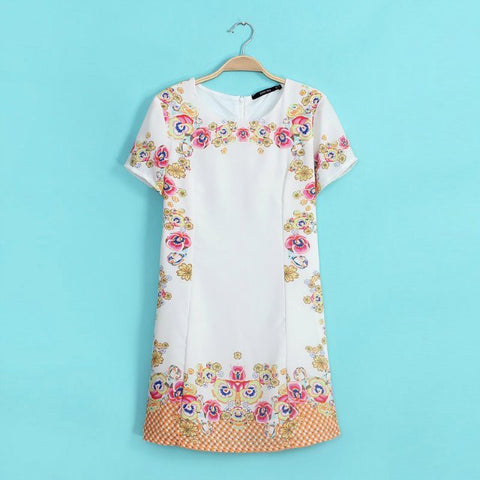 Women's Fashion Stylish V-neck Print Short Sleeve One Piece Dress [4914967108]