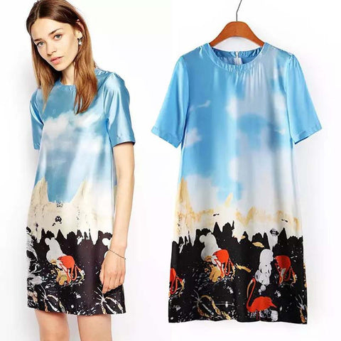 Blue Stylish Cartoons Irregular Print Short Sleeve Mini One Piece Dress [4914998468]
