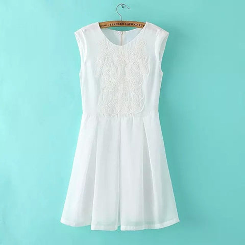 Women's Fashion Simple Design Embroidery One Piece Dress [4914967044]