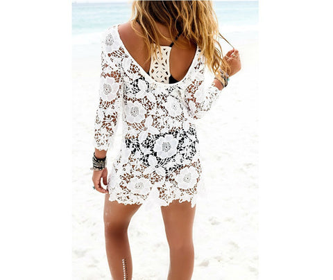Lace Hollow Out Blouse Sexy One Piece Dress [6338685252]