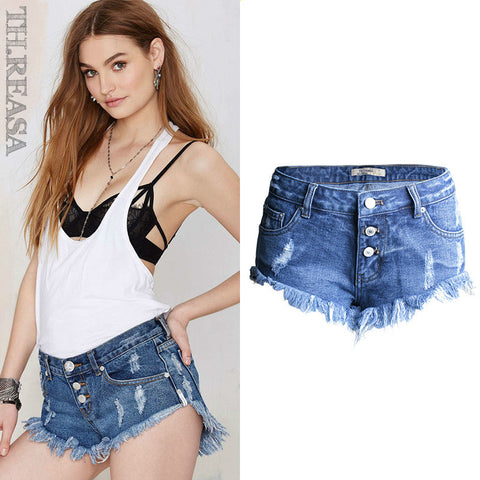Denim Low Waist Pants Summer Ripped Holes Irregular Tassels Shorts [11474122703]