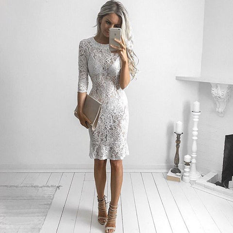 Lace White Half-sleeve Club One Piece Dres
