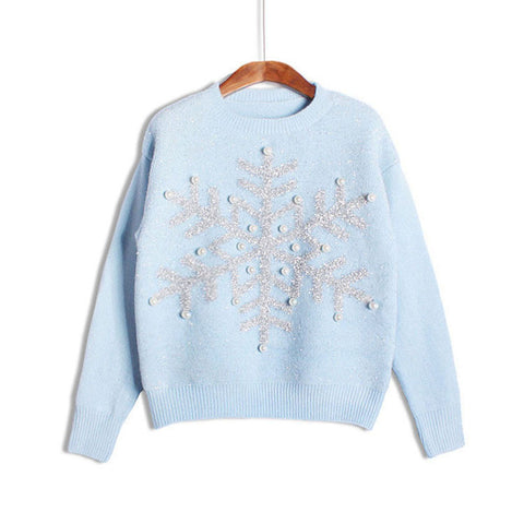 Ladies Wool Knit Pullover Round-neck Long Sleeve Christmas Tops [9609409167]