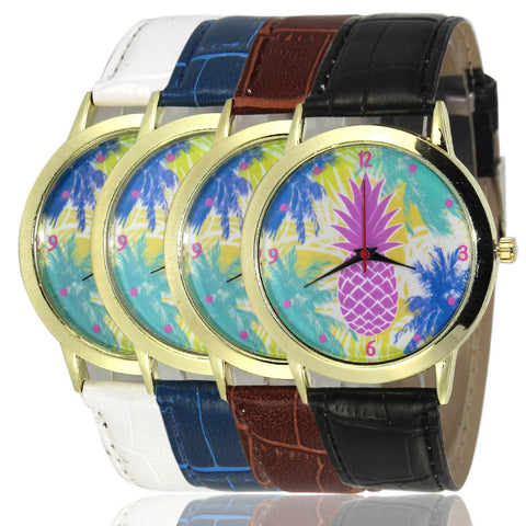 Designer's Great Deal New Pineapple Arrival Stylish Awesome Good Price Trendy Gift Hot Sale PU Leather Watch [9012879812]