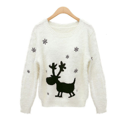 Long Sleeve Pullover Christmas Sea Knit Tops Sweater [9609408719]