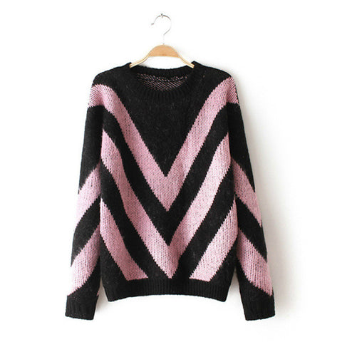 Long Sleeve Pullover Knit Tops Winter Thicken Sweater [9609410191]