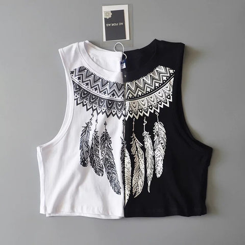 Bralette Comfortable Beach Sexy Hot Stylish Summer Crop Top Feather Print Vest [11604652111]