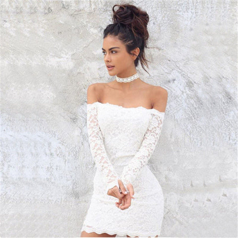 Women's Fashion Long Sleeve Lace One Piece Dress [9052506116]