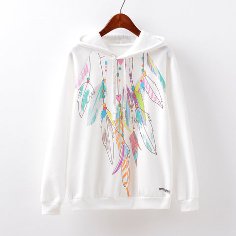 Women's Fashion Feather Print Hats Casual Fleece Hoodies [9067782084]