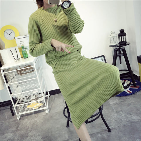 Long Sleeve Autumn Women's Fashion Korean Knit Tops Pullover One Piece Dress [9609408463]
