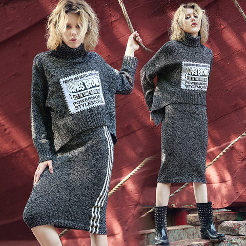 Pullover Sweater Autumn Knit Tops Dress Irregular Bottom & Top [9609412111]