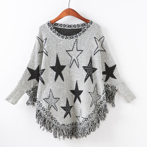 Knit Batwing Sleeve Tassels Pullover Scarf Sweater [9067786820]