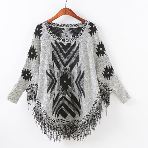 Knit Batwing Sleeve Pullover Scarf Sweater [9067786372]