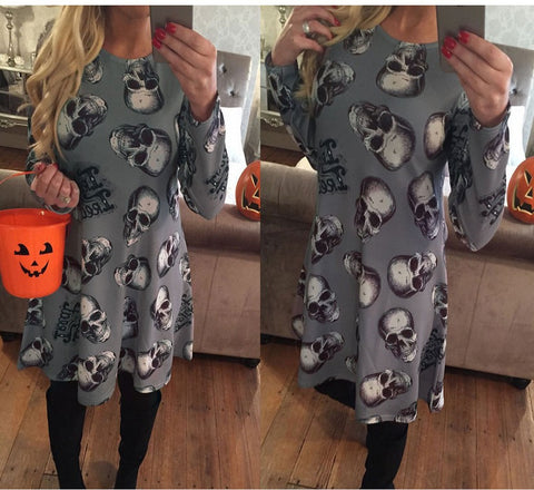 Long Sleeve Winter Halloween Christmas Fashion Costume Cartoons Print One Piece Dress [9307404164]