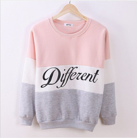 Alphabet Pullover Round-neck Long Sleeve Fleece Hoodies [9307392196]