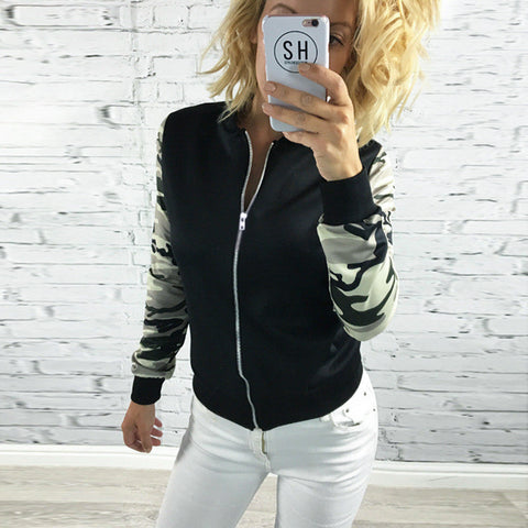 Camouflage Long Sleeve Print Zippers Jacket [9307390788]