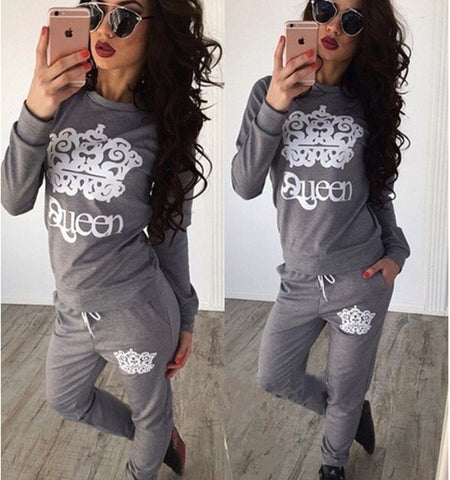 Casual Set Autumn Crown Pattern Round-neck Long Sleeve Hoodies [9307404356]